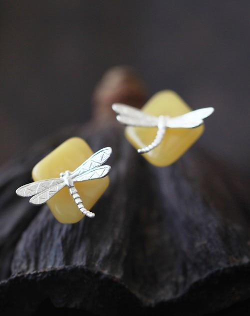 S925 argent libellule classique rétro littéraire tempérament femelle libellule boucles d'oreilles