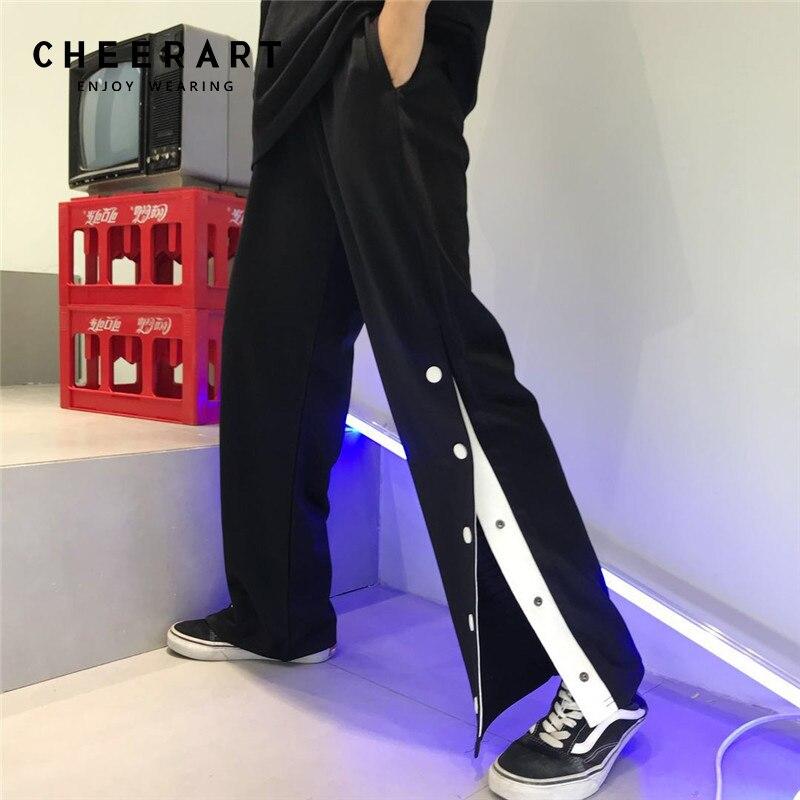 Cheerart Harajuku Side Button Pants Women Open Crotch Wide -3250