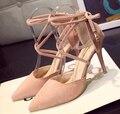 2016 Мода лето женские Сандалии высокой пятки насосы новые горячие Продажи женщина на высоких каблуках Замши сандалии насосы 9 СМ