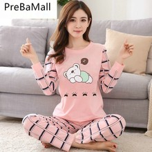 New Arrived Cotton Pajamas For Women Two Piece Cute Nightshirt Casual Home Clothing Ladies Sleepwear Nightgown M-2XL C174