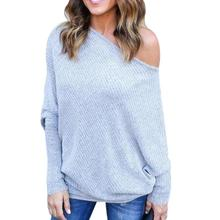 Elegant Lady Pullovers Sexy Skew Off Shoulder Sweaters 2017 Autumn Winter Knitted Jumpers Loose Batwing Sleeve Tracksuit Tops Z3