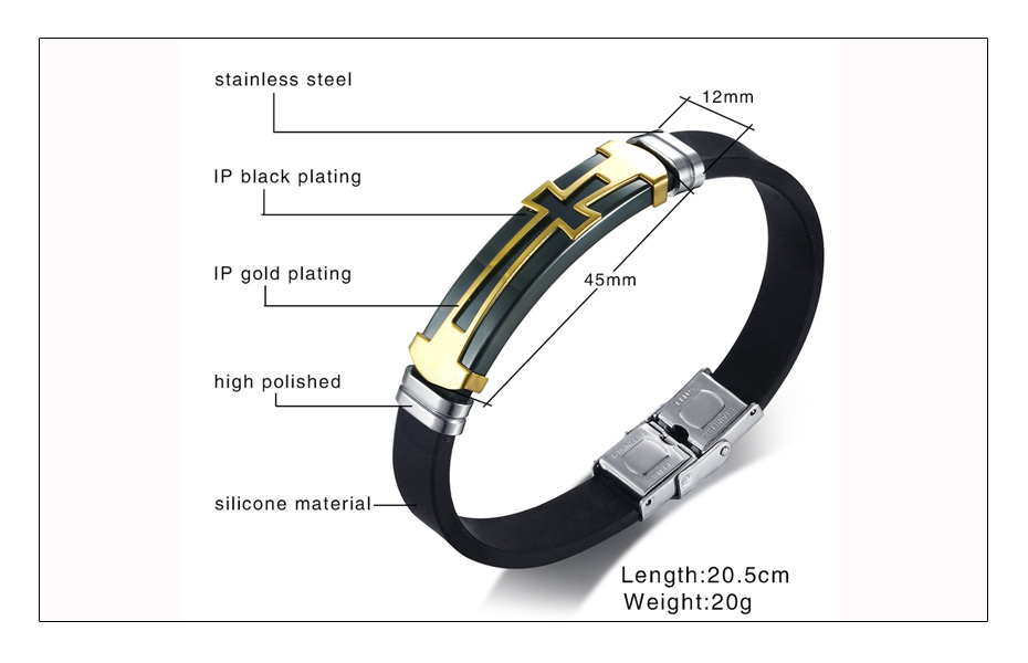Meaeguet Stainless Steel Cross Symbol Charm Bracelet Men Top Quality Black Rubber Silicone Wristband Religious Jewelry (5)