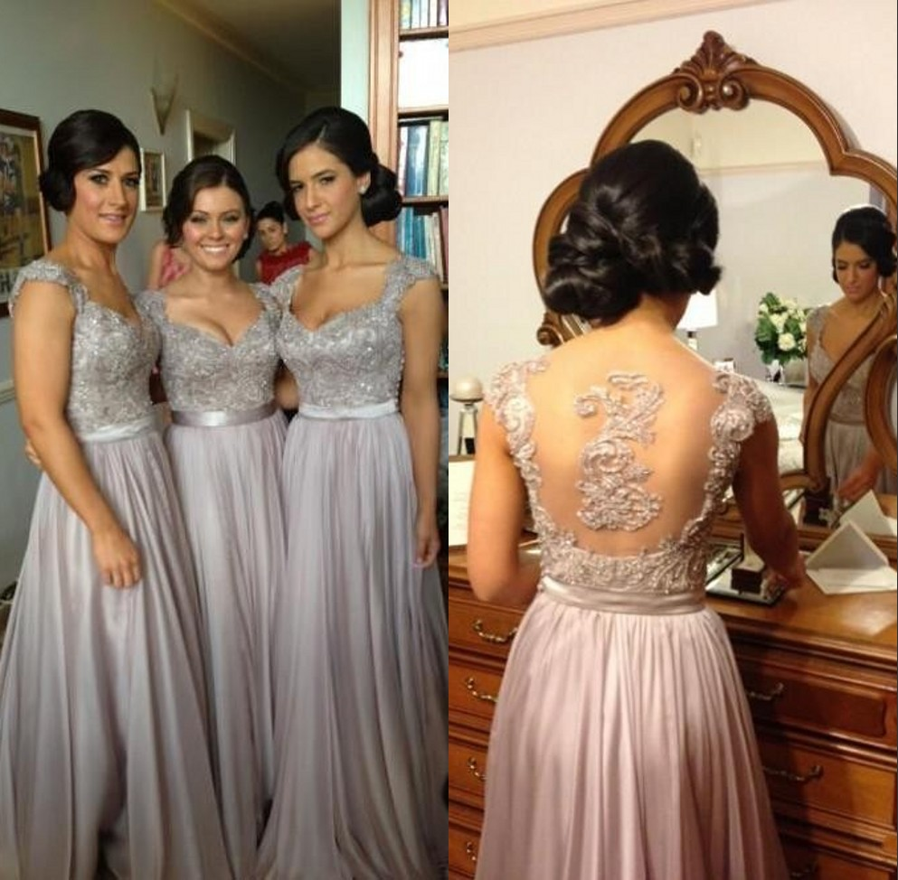 Online get cheap bridesmaid dresses ivory long sleeves aliexpress short sleeves embroidery crystal beaded peachivorypinkchampagneredsilver long lace chiffon bridesmaid dresses fast shipping ombrellifo Gallery