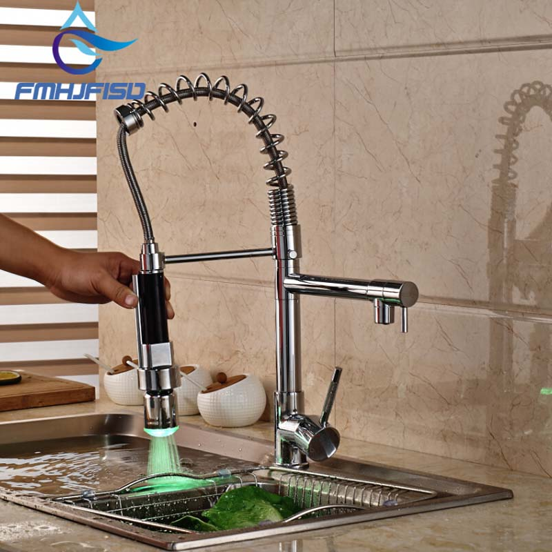 LED Spout Chrome Brass Kitchen Faucet Spring Mixer Tap Hot and Cold Water Deck Mounted Dual Spouts led spout swivel spout kitchen faucet vessel sink mixer tap chrome finish solid brass free shipping hot sale
