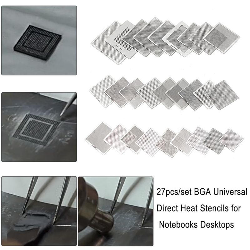 27pcs/set <font><b>BGA</b></font> <font><b>Stencils</b></font> <font><b>Universal</b></font> Direct Heated <font><b>BGA</b></font> <font><b>Stencils</b></font> for Notebooks Desktops Motherboards Soldering Supplies Repair Tools image