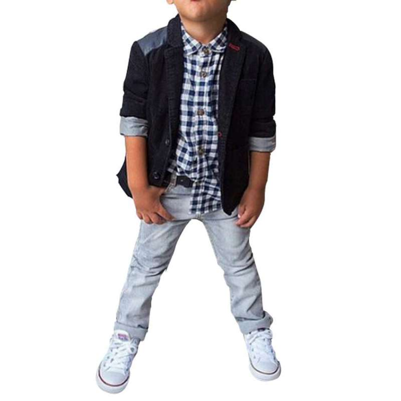 3Pcs Kids Boys Clothes Shirt Top+ Jacket Coat+ Jeans Pants Fashion Wedding Party Outfits For Baby Boys Hot Selling
