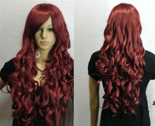 Новые модные длинные темно-красные вьющиеся женские вечерние парики для косплея AAAAAA бесплатная доставка