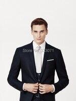 Italian Style Dark Navy Blue Groom Tuxedos 3 Piece Bridegroom Suit Mens Wedding Suits Best Man
