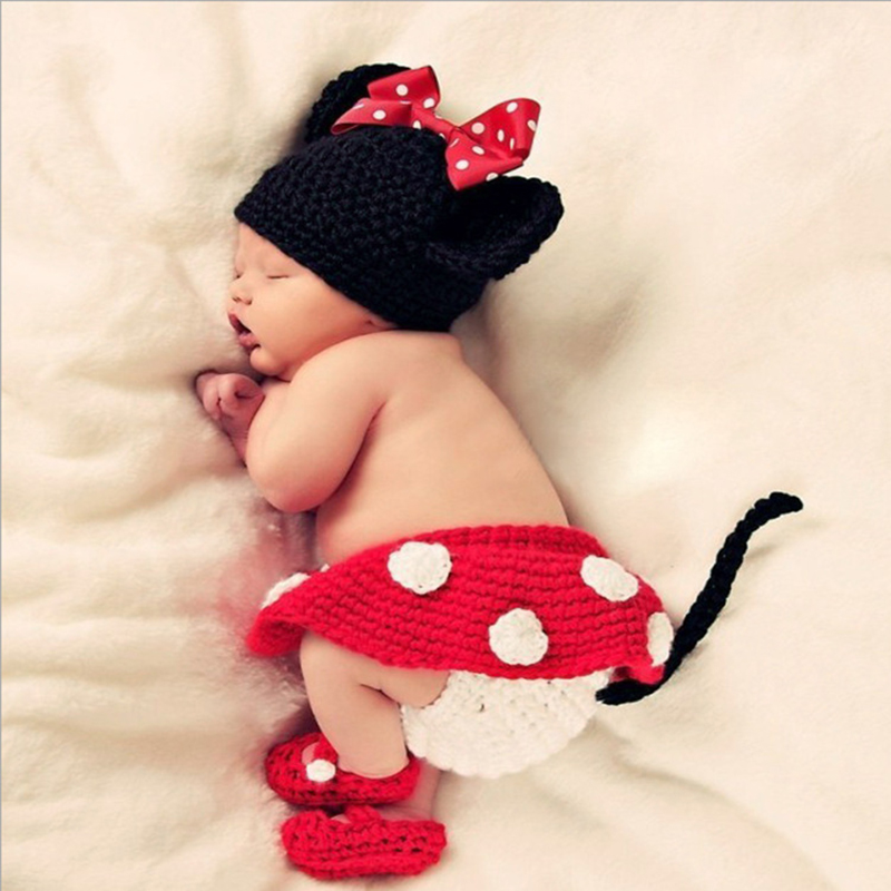 Handmade Knitting Baby Clothing Sets Boy Girl Knitted Clothes Infant Photography Props Suit Bebe Cartoon Cosplay Costumes Outfit newborn baby girl dresses 3pcs clothing sets suit infant romper jumpersuit bebe party wedding costumes vestidos