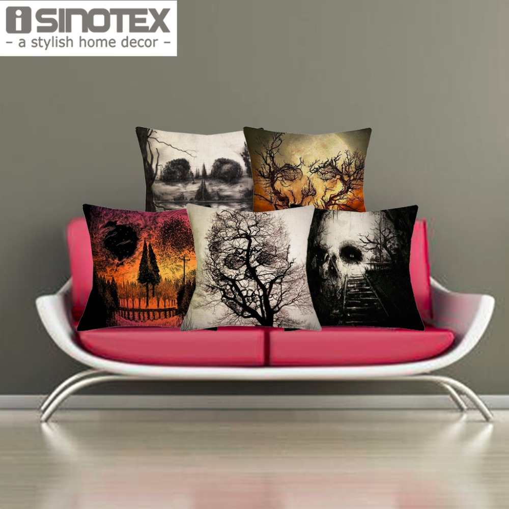 The Halloween Skull Printed Linen Cushion Covers Home Decor Decorative Throw Pillow Case 43x43cm China
