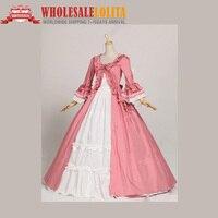 Pink Renaissance Victorian Cotton Dress Gown Victorian Marie Antoinette Dress