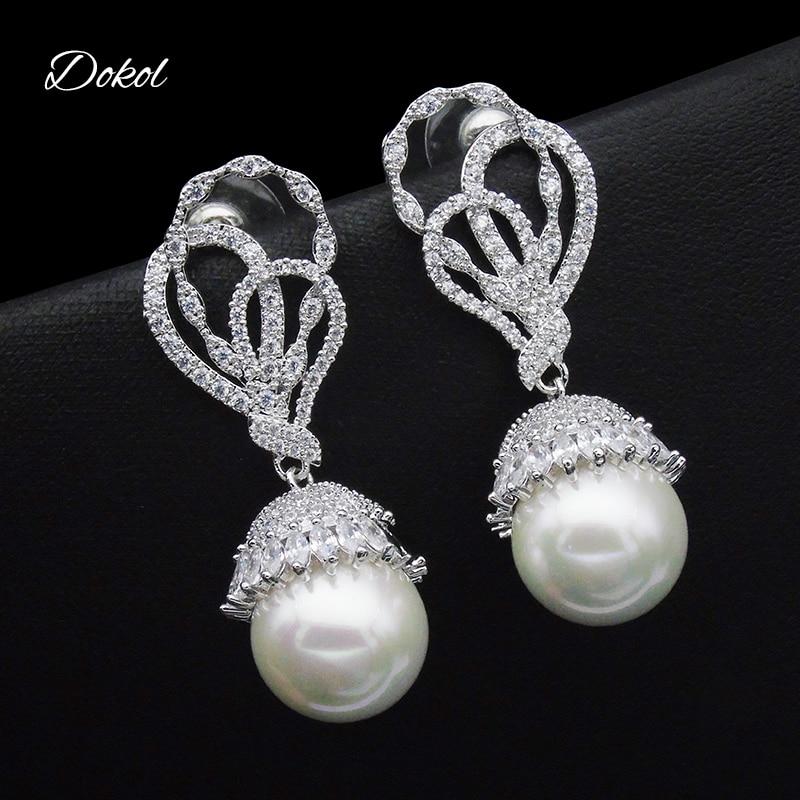 DOKOL Luxury Bridal Earrings Micro Paved AAA CZ Diamond Earring Drop Pearl Earring Elegant Platinum Plated Jewelry DKE0151 brinco de noiva