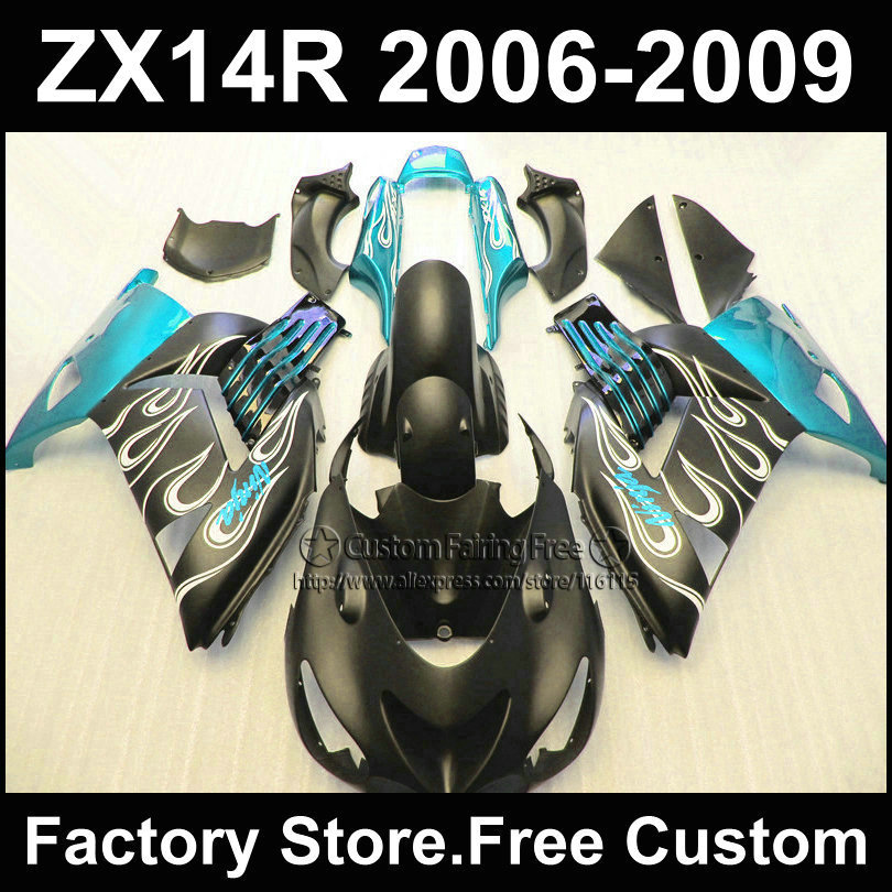 Motorcycle Injection fairing kit for Kawasaki 2006 2007 2008 2009 ZX14R Ninja ZX 14R 06-09 light blue black custom fairings kits aftermarket free shipping motorcycle parts for motorcycle 2006 2007 2008 2009 kawasaki zx14 zx14r zx 14r axle caps covers chrome