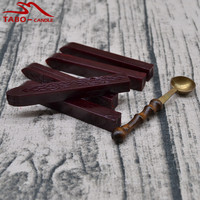 Classic Carved Lotus Sealing Wax Stick 5 Pcs And 1 Melting Spoon Anti Hot Wood Handle