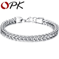 OPK JEWELRY Free Shipping Fashion Jewelry Stainless Steel Bracelet Silver Oblong Strip Chain Men Cuff Friendship