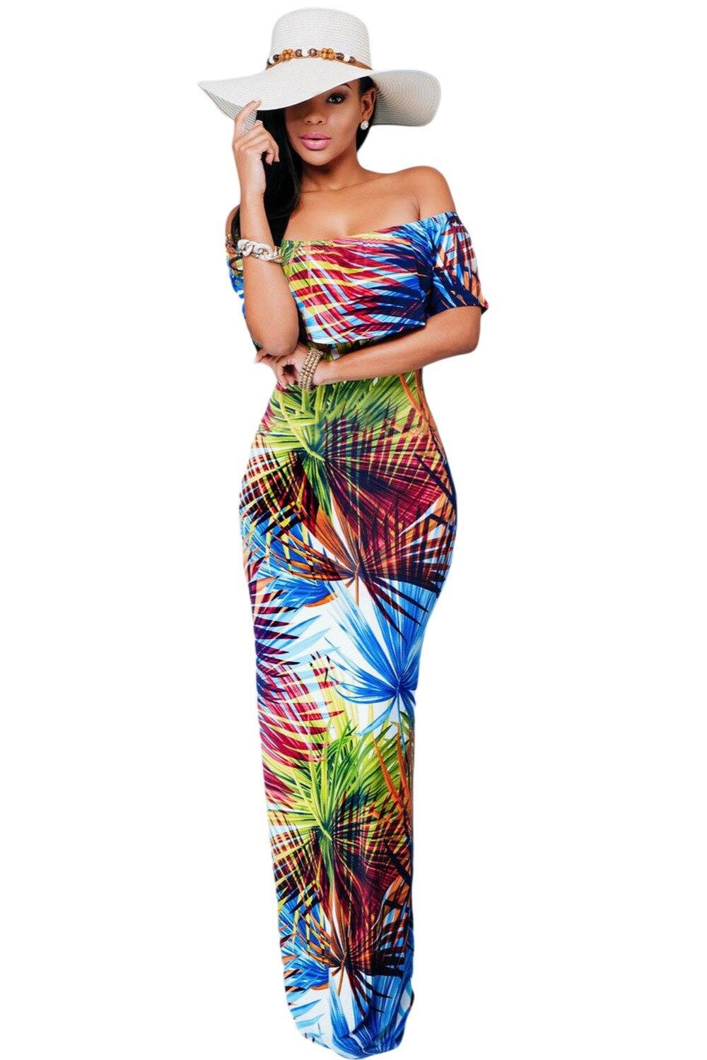 2016 Sale Plus Size Women Dress Sexy Elegant Floral Print Off the shoulder Maxi Dress font
