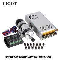 Brushless 500W CNC Router Spindle Motor Machine Tool Spindle 55MM Clamp Stepper Motor Driver Power Supply