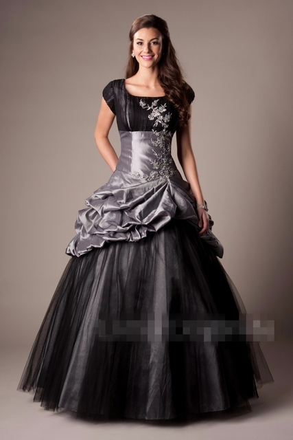 5b1fcbc91420a US $158.76 30% OFF|2019 Royal Blue Black Modest Prom Dresses With Cap  Sleeves Vintage Short Sleeves Taffeta Seniors Ball Gown Prom Party Gowns-in  Prom ...