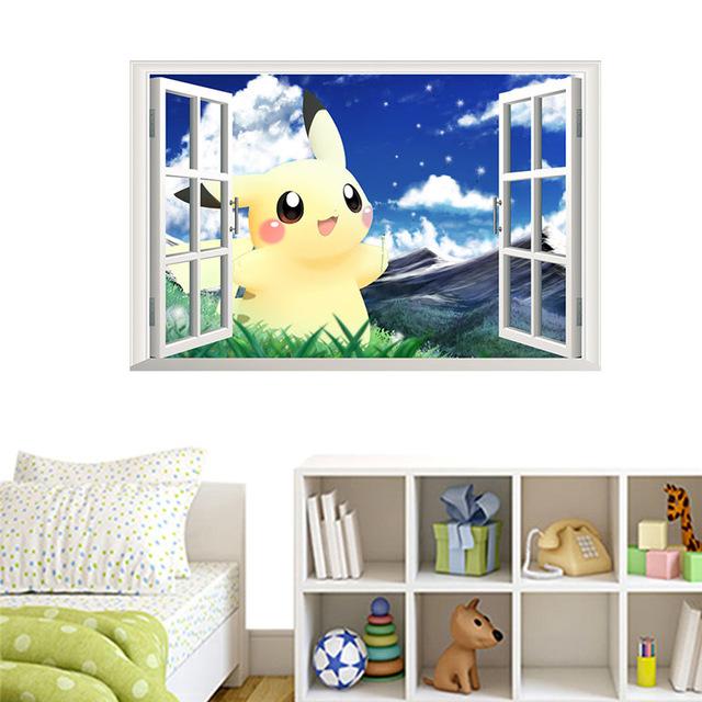 y d falso ventana pikachu pokemon ir pegatinas de pared para de los nios calcomanas