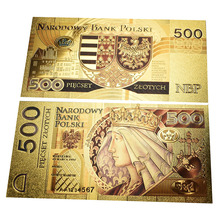 Plastic Material Poland Gold Banknote 500 PLN money for souvenir and collection