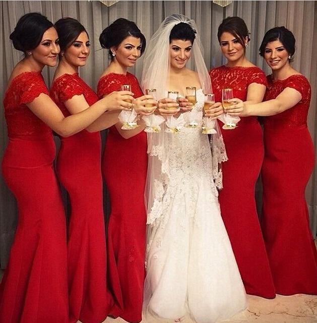 Vestidos para damas de honor rojos