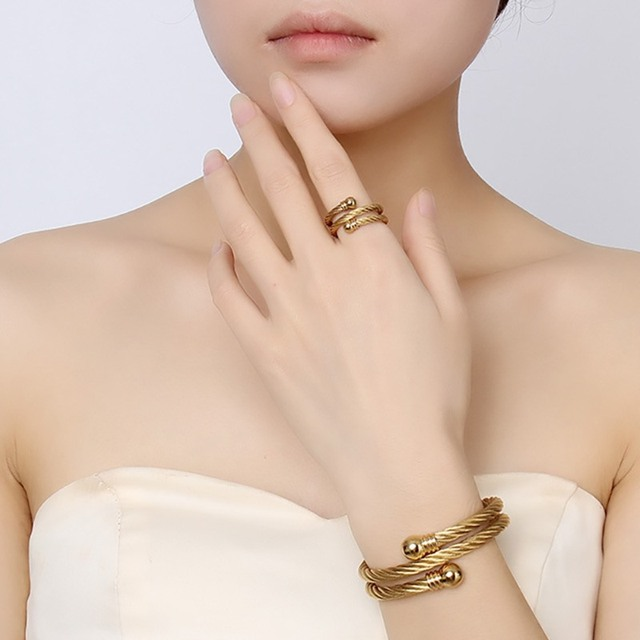 Unique Adjule Jewelry Sets For Women Twisted Cable Cuff Bangle Bracelet And Ring Set Gold Plate