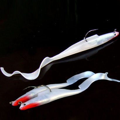 Venta caliente blanco larga cola plomo pescado suave 5 unids señuelos cebo de pesca 10.8 cm estampado leopardo plástico suave nadar plantilla Jig gancho señuelo