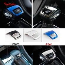 Tonlinker Cover Stickers for SKODA KODIAQ 2017-18 Car Styling 1 PCS Stainless steel Interior Gear shift Head case Sticker