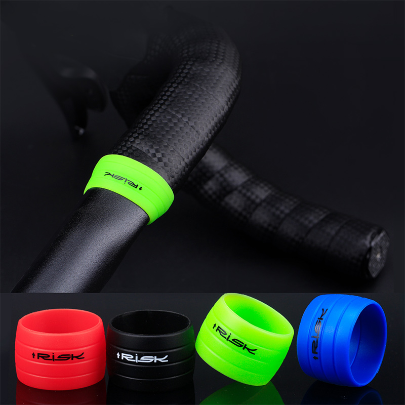1 Pair Cycling Handlebar Tape Fixing Sleeve Silicone Rubber Anti-Skip Road Bike Plugs Waterproof Protective Ring