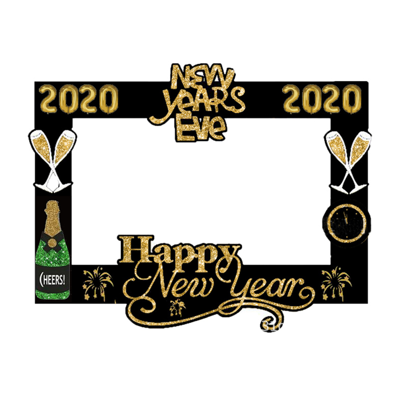 2020 Happy New Year Photo Booth Props Xmas Party Decoration Photo Frame Happy New Year Gift Box Label Stickers Christmas Supply