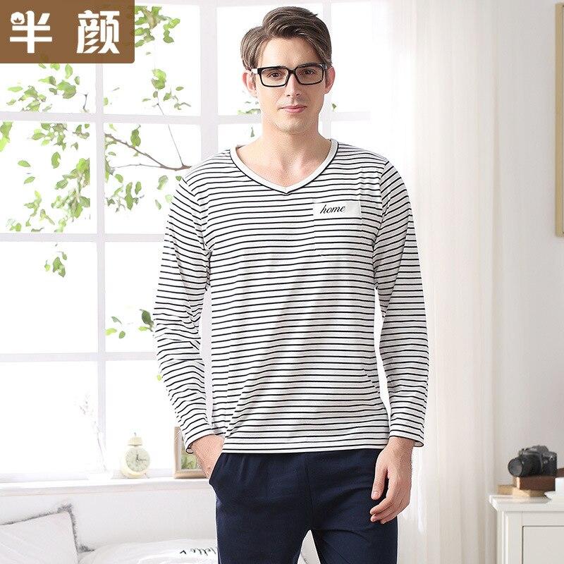 Pajamas-Set Nightwear Clothing Sleepwear Home 100%Cotton And O-Neck Men Spring Autumn