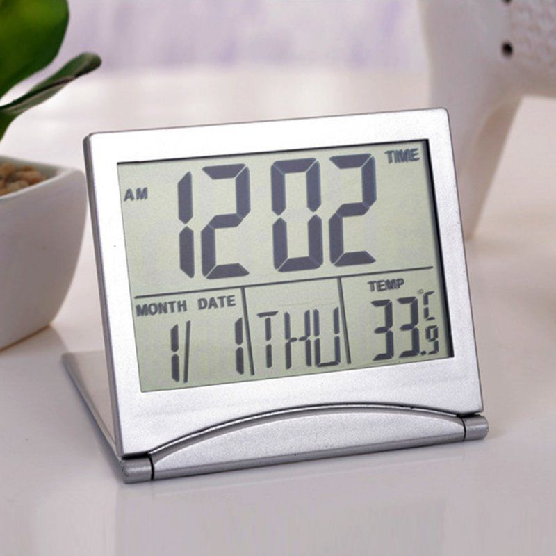 Home Digital LCD Screen Travel Alarm Clocks Desk Thermometer Timer Calendar New