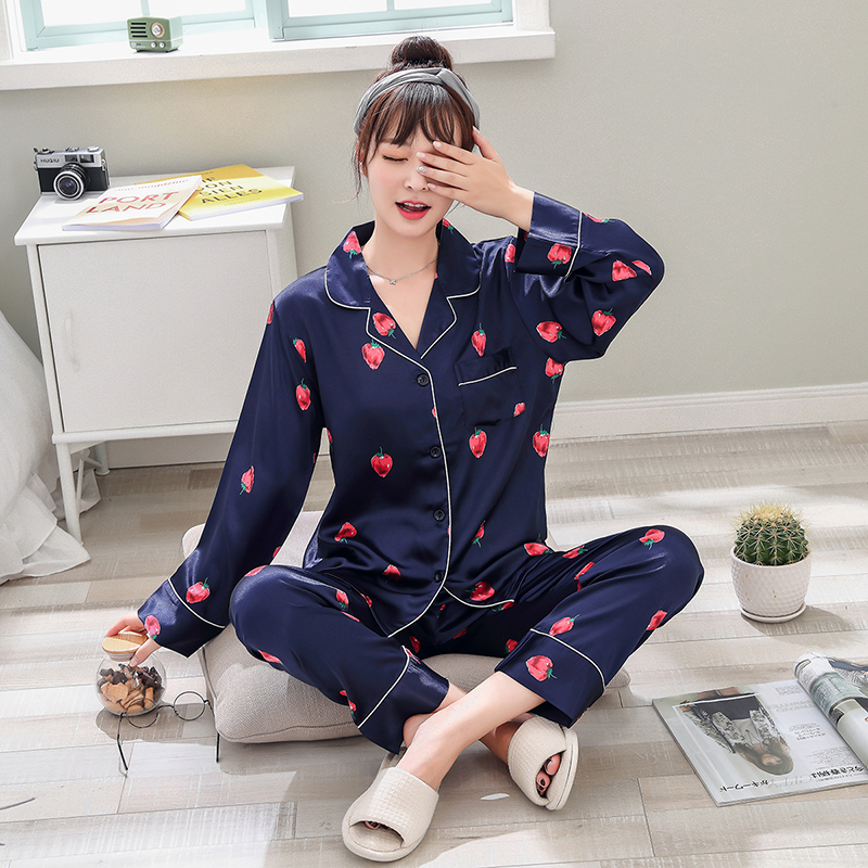 Image 5 - Mulheres de Cetim de Seda Pijamas Pijamas Set Design Bonito 2019 pcs 2 Noite Camisas Calças Desgaste Casa Para A Menina Feminino Sleepwear ternoConjuntos de pijama   -