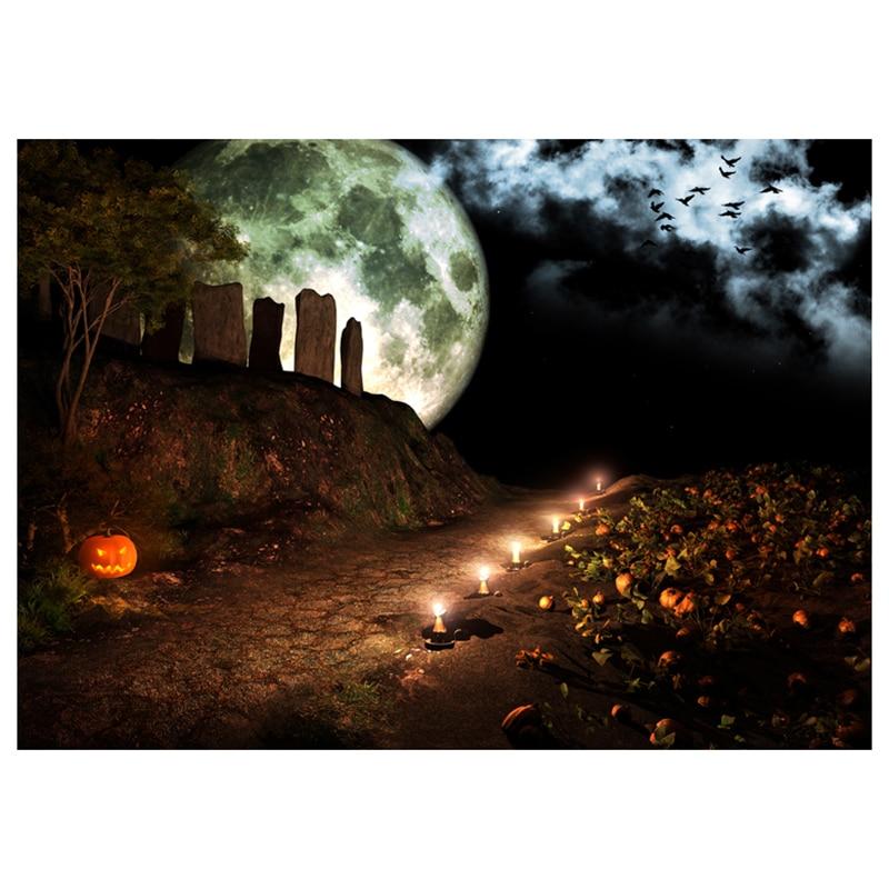 Vinyl Photography Background Photo Backdrops Magic Theme Terror Night Mountain Pumpkin Lights, Candles, Stones, Raven, Moon