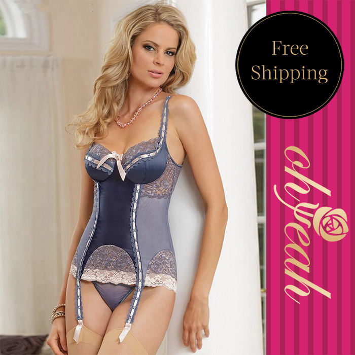 Sexy Costumes Drop Shipping Pretty In Periwinkle Bustier font b Sex b font Lingerie For Women