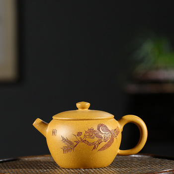 yixing recommended all hand undressed ore gold period of mire ship pearl pot of kung fu tea tea set gift wholesale