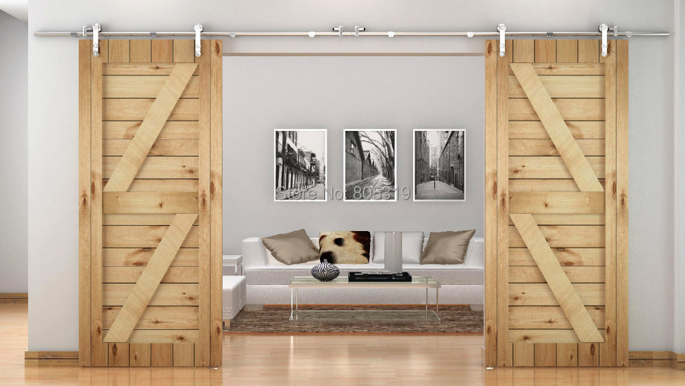 Stainless Steel Modern Interior Sliding Barn Wood Door Kit In Doors