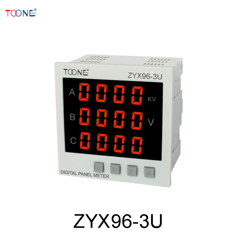 Three - phase AC digital intelligent voltmeter ZYX96-3U / SX96 * 96 power digital instrumentation three phase ac digital display intelligent current and voltage table zyx96 3ui two in one power meter