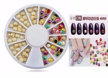 Lower 1wheel 4mm White and Multicolor Metal Edge Glitters Half Round Pearls Beads Colorful Nail Art Rhinestoners, ZP-05....