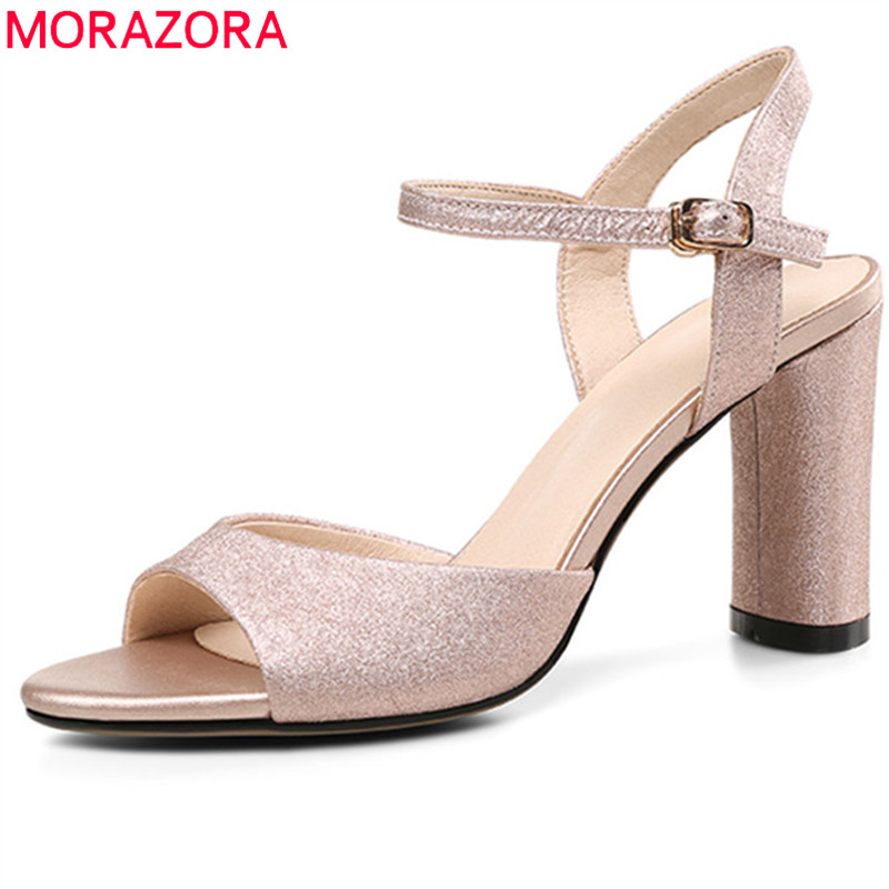 b6deb6bd063 MORAZORA 2018 new arrival women sandals elegant gold silver peep toe party  wedding shoes big size