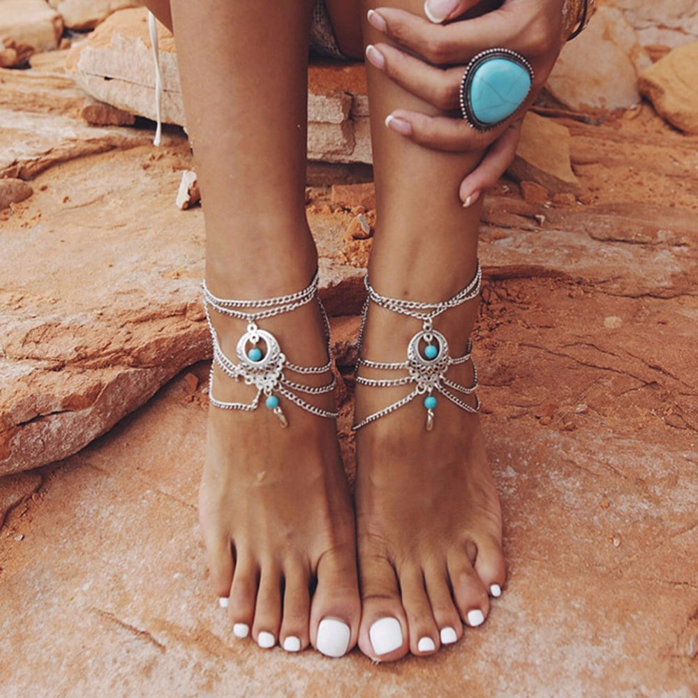 Anklets Women Ankle Bracelets Color Hollow Flower Blue Beads Barefoot Sandals Foot Jewelry Multilayers Tassel Leg Chain