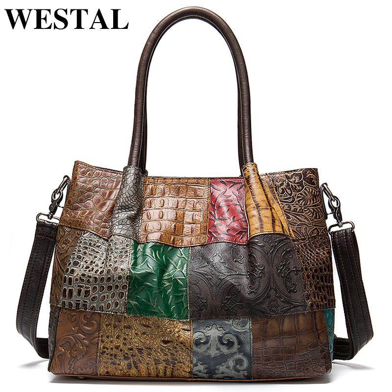 WESTAL 100% Women's Briefcases Genuine Leather Laptop Bag Female Embossing Women Office Bags Business Bag Briefcase Handbags