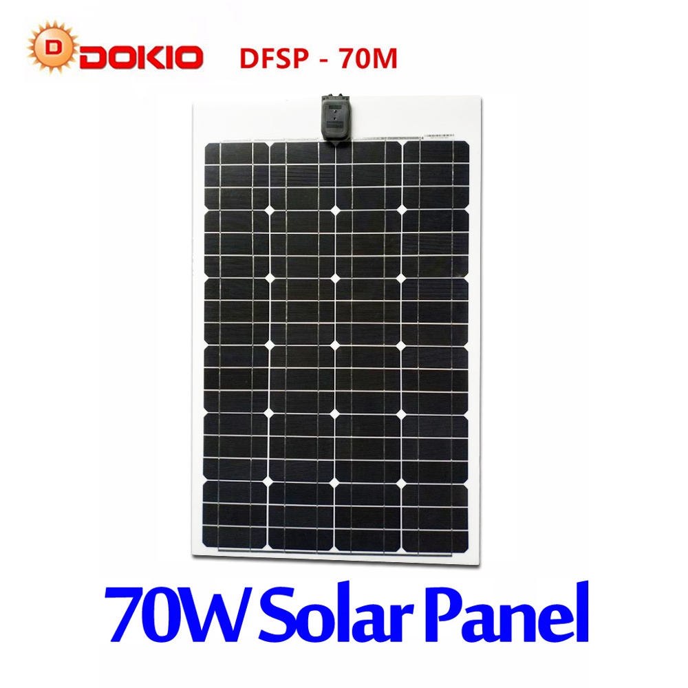 DOKIO Brand Flexible Solar Panel 70W Monocrystalline Silicon Solar Panels China 18V 910*530*25MM Size Top Quality painel solar dokio brand solar panel china 100w monocrystalline silicon 18v 1175x530x25mm size top quality solar battery china dsp 100m