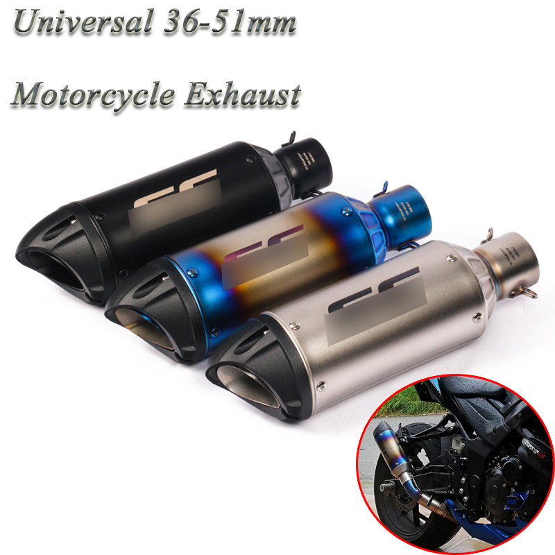 Motorcycle GP Exhaust Pipe Escape Modified Universal Motorbike 51mm Laser Muffler For Honda Ninjia 250 ATV PCX155 NVX155 R25 R6(China)