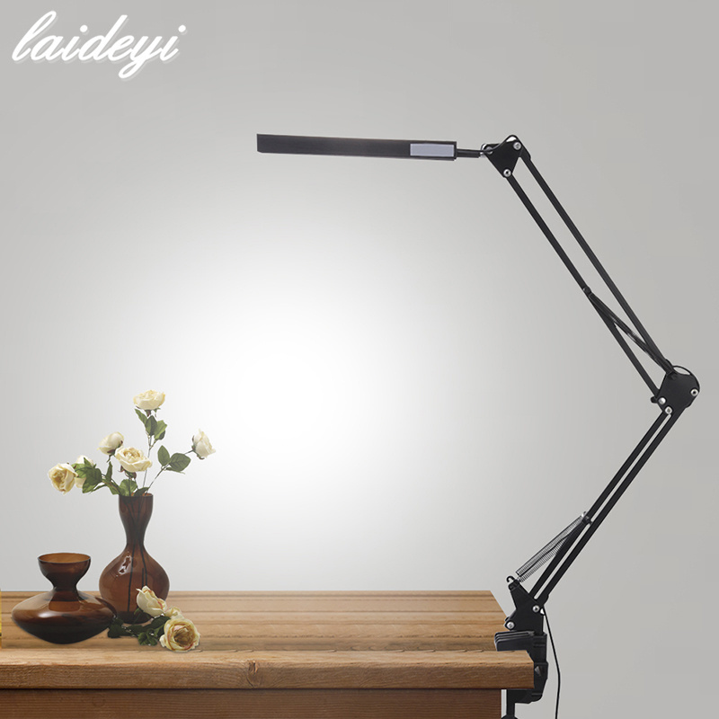 LAIDEYI Desk Lamp Clip Office Led Desk Lamp Flexible Led Table Lamp Reading Led Light Free Dimming Brightness 4 level brightness led office table desk lamp touch dimming rechargeable bedside reading light for study engineer architect