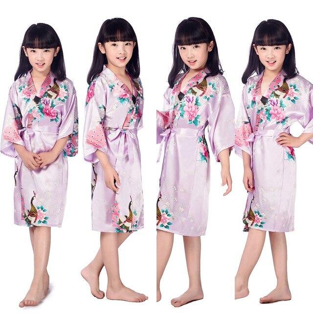 Children New Light Purple Vintage Japanese gril\'s Kimono kids Floral ...