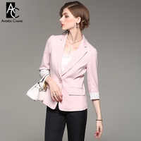 Spring Autumn Woman Blazer Jacket Two Pockets White Lace Lining Sleeve Cuff 3 4 Sleeve Fashion