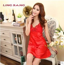 Sexy Lingerie sleepwear female summer silk sleepwear sexy woman sling Lingerie Women Lace Dress