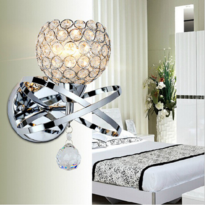 Ball Round Globe Crystal Wall Light Living Corridor Silver Golden Stair Crystal Wall Sconce ...
