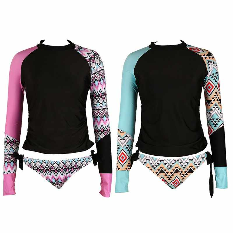 c566d78d30 Womens Long Sleeves Patchwork Two Piece Swimsuit Set Rashguard Aztec Print  Side Ties Color Block Shirt